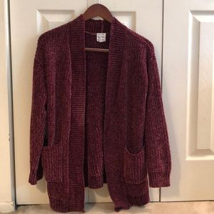 Chenille long sleeve cardigan with pockets